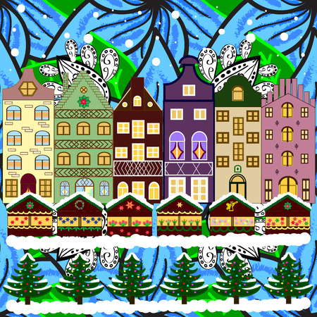 winter tree: Evening city winter landscape with snow cove houses and christmas tree. Holidays Vector illustration. Illustration