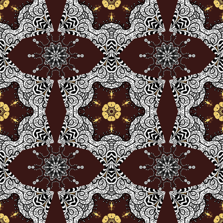 Elegant vector classic pattern. Seamless abstract background with repeating elements. Brown and golden pattern. Illustration