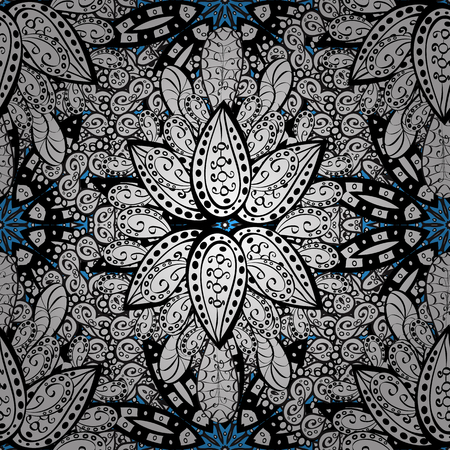 baroque border: Vector seamless pattern with gray antique floral medieval decorative, leaves and white pattern ornaments on blue background. Seamless royal luxury white baroque damask vintage.