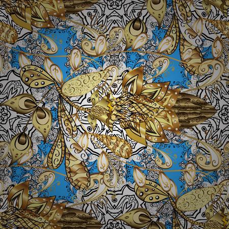 baroque border: Floral tiles. Golden pattern on blue background with golden elements. Seamless pattern oriental ornament. Vector golden textile print. Islamic design. Illustration