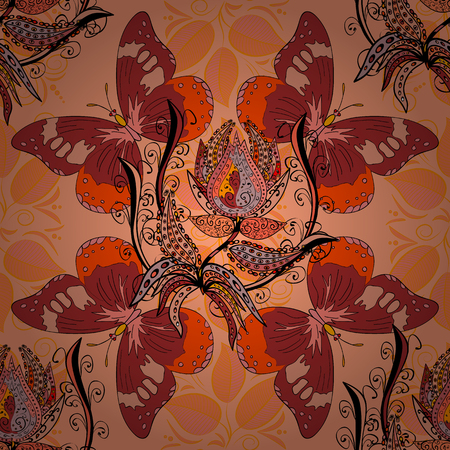 rug texture: The elegant the template for fashion prints. Motley illustration. Spring floral background with orange flowers. Vector cute pattern in small flower. Small colorful flowers.