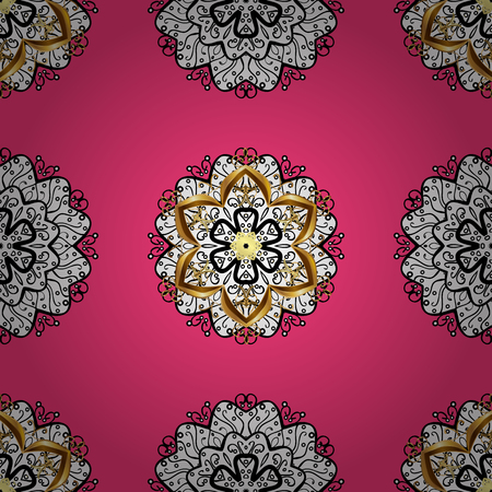 Ornate vector decoration. Seamless damask pattern background for sketch design in the style of Baroque. Golden pattern on pink background with golden elements. Illustration