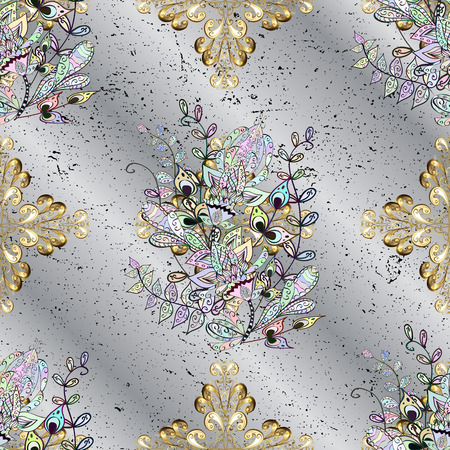 grey pattern: Damask pattern for design. Vector pattern on gray background with golden elements.
