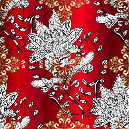Vector line art ornamental border for design template. Vector sketch for invitations, cards, certificate, web page. Eastern style element. Golden outline floral decor. Golden element on red background Illustration
