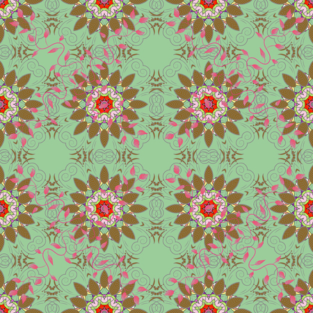 Vector Mandala colored on green background. Illustration