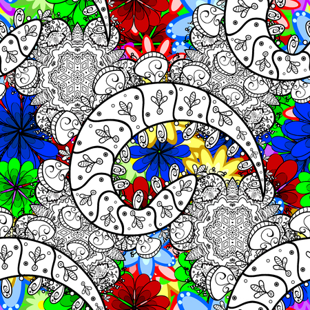 Seamless pattern with abstract ornament. Vector Hand drawn zentangle floral background. Ilustração