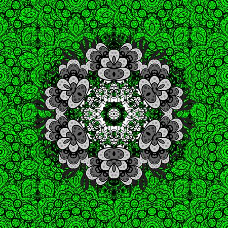 Royal luxury white baroque damask vintage. Vector pattern background sketch with mandala antique floral medieval decorative 3d flowers, leaves and mandala pattern ornaments. Green on background.