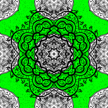 rococo: Damask pattern for design. Vector pattern on green background with white elements.