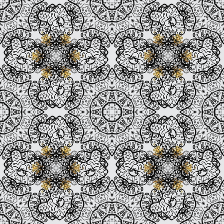Classic vintage background. Seamless pattern on gray background with golden elements. Seamless classic vector golden pattern. Traditional orient ornament. Vector illustration.