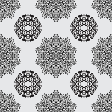diversified: Damask seamless pattern for design. Vector seamless pattern on gray background with white elements. Illustration
