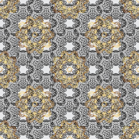 grey background texture: Traditional classic golden pattern. Vector oriental ornament. Seamless oriental ornament in the style of baroque. Golden pattern on gray background with golden elements.