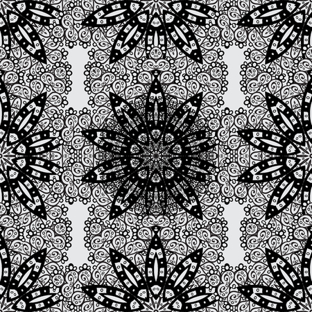grey background texture: Traditional classic white vector pattern on gray background with white elements. Seamless oriental ornament in the style of baroque. Illustration