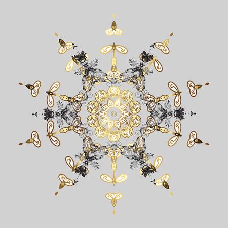 Flocons de neige stylisés de Noël sur fond gris. Modèle d'hiver. Conception de vecteur avec des doodles et des éléments dorés.