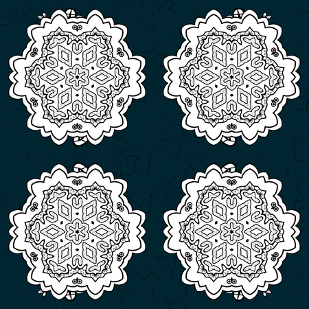 Vector traditional orient ornament. White pattern on blue and white background with white isolated elements. Classic pattern.