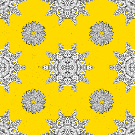 attern: Oriental style arabesques. Vector white pattern. White textured curls. ?attern on yellow background with white elements. Illustration