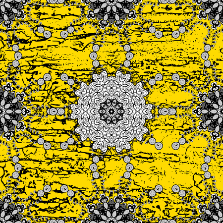 Vector oriental ornament. White pattern on yellow background with white elements. White pattern. Illustration