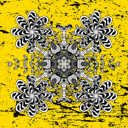 Classic white pattern. Vector traditional orient ornament. White pattern on yellow background with white elements. Illustration