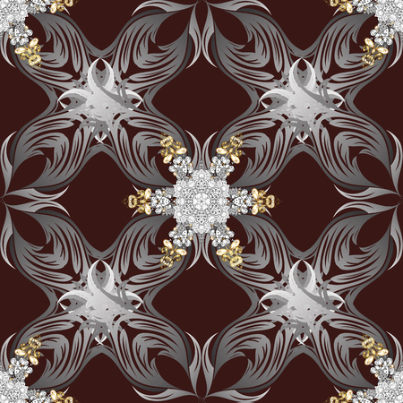 grey background texture: Brown background with golden elements. Oriental style arabesques. Golden textured curls. Vector golden pattern.