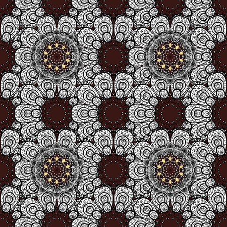 Floral doodle. Brown background. Seamless pattern for adult coloring book. Çizim