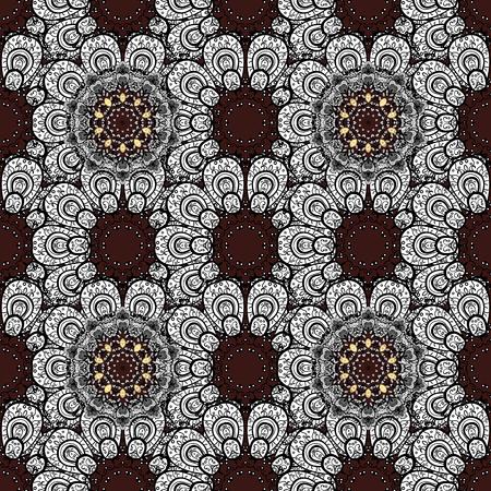 Floral doodle. Brown background. Seamless pattern for adult coloring book. Illustration