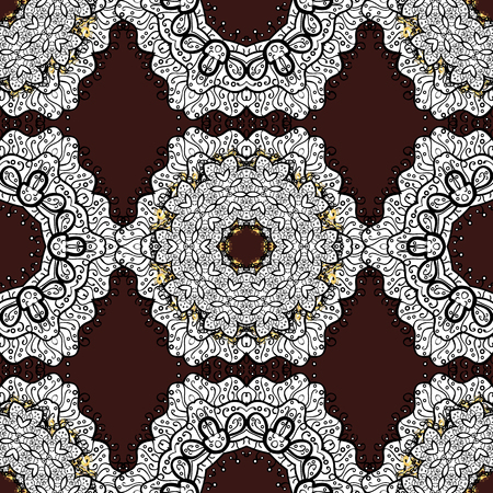 Seamless oriental classic white pattern. Vector abstract background with white repeating elements on a brown background. Illustration