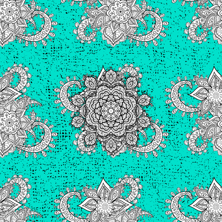White pattern. Vector white floral ornament brocade textile pattern. Carved with floral pattern. Blue background with white elements.