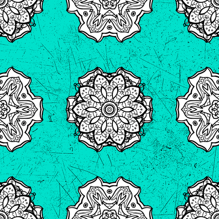 Decorative symmetry arabesque. Pattern medieval floral royal pattern. Gray on blue background. Vector illustration. Good for greeting card for birthday, invitation or banner.