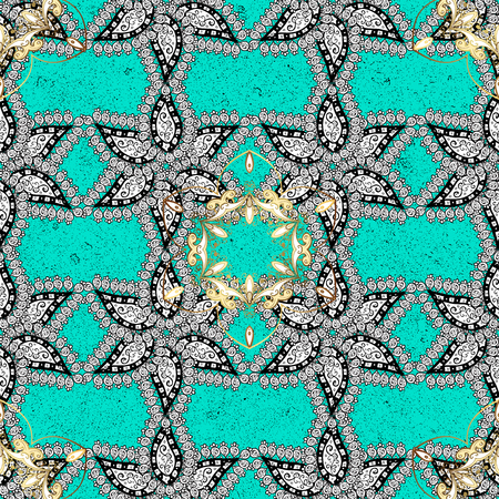 Oriental classic golden pattern. Vector abstract background with repeating elements. Blue on background. Illustration