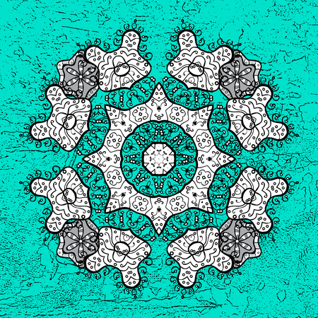 White elements on blue background. Sketch baroque, damask. Vector background. Stylish graphic pattern. Floral pattern.