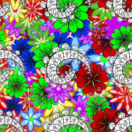 Vector abstract pattern. Hand-drawn colored mandala on a background.
