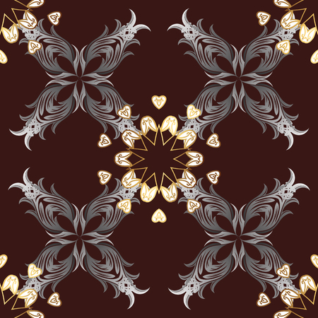 grey background texture: Seamless pattern on brown background with golden elements. Brilliant lace, stylized flowers, paisley. Vector oriental style arabesques. Openwork delicate golden pattern. Seamless golden texture curls.