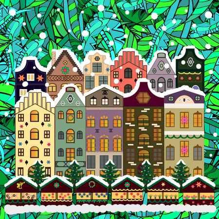 rejoice: Evening village winter landscape with snow cove houses. Vector illustration. Background. Christmas winter scene. Illustration