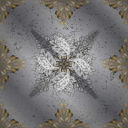 grey background texture: Damask gold floral flower pattern background on vector. Ornate vector decoration.