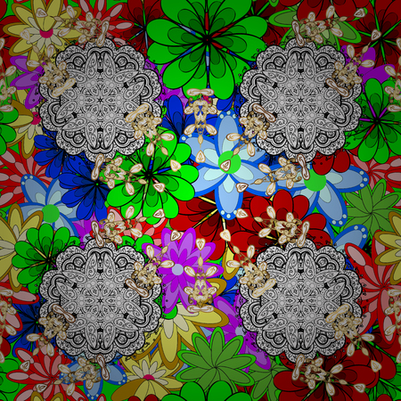 Geometric circle vector element. Ornament colored card with mandala. Kaleidoscope, medallion, yoga, india, arabic. Tribal, Boho, Bohemian style.