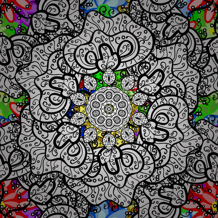 textiles: Oriental motifs. Colored Mandala. Round Ornament Pattern on a background. Vector geometric circle elements. Spiritual and ritual symbol of Islam, Arabic, Indian religions. Illustration