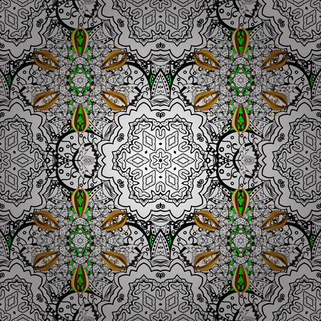 textiles: Golden texture curls. Oriental style arabesques. Pattern on green background with golden elements. Openwork delicate golden pattern. Vector. Brilliant lace, stylized flowers, paisley.