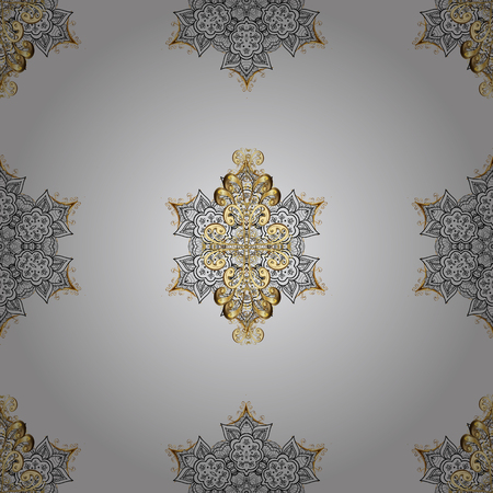 Seamless oriental ornament in the style of baroque. Traditional classic golden vector pattern on gray background with golden elements.