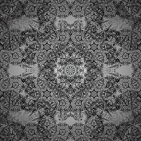 textiles: Seamless pattern on gray background. White elements in oriental style arabesques. Seamless white textured curls. Vector white seamless pattern. Illustration