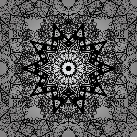Vector ethnic pattern can be used for sketch, pattern fills, coloring books and pages for kids and adults. Gray background. Doodle background in vector with doodles, flowers and paisley.