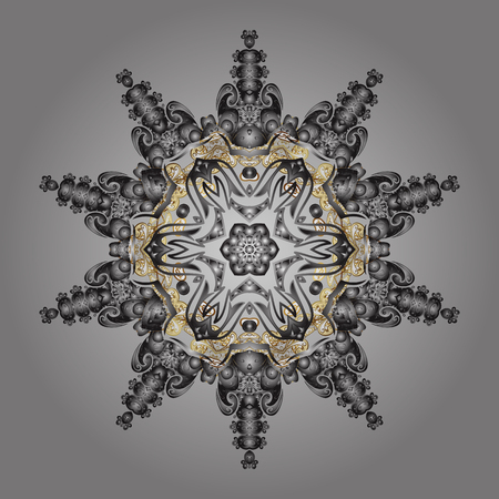 Vector christmas abstract gray background with golden elements. Snowflakes pattern in colors.