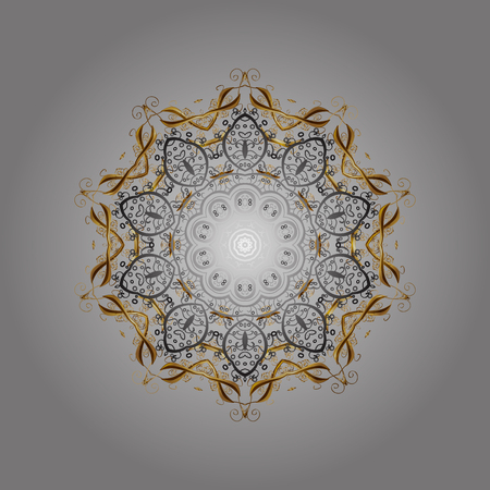 pied: Vector christmas abstract gray background with golden elements. Snowflakes pattern in colors.
