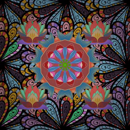 interesting: Vintage vector decorative elements. Islam, Arabic, Indian, turkish, pakistan, chinese, ottoman motifs. Oriental pattern. Colored Mandalas on colorful background.