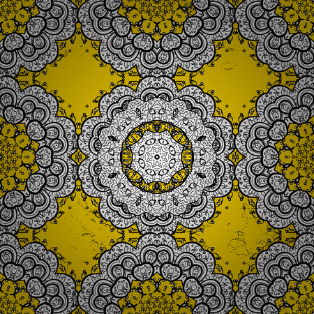 Damask pattern for design. Vector pattern on yellow background with white elements. Illustration