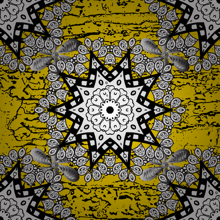 drapes: Vintage pattern on a yellow background with white elements. Vector illustration.