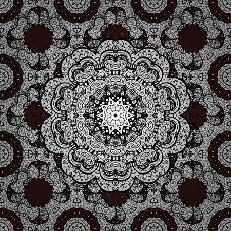 Classic vector white seamless pattern. Seamless pattern on brown background with white elements. Traditional orient ornament.