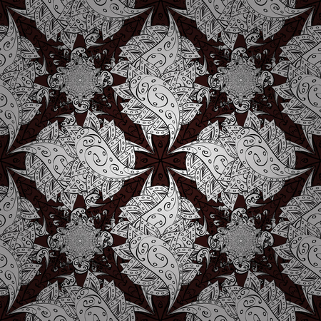 Seamless oriental ornament in the style of baroque. Traditional classic white vector pattern on brown background with white elements. Illustration