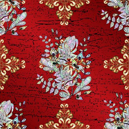 Vector geometric background. Golden pattern on red background with golden elements. Golden color illustration.