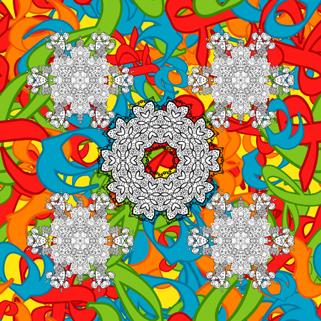 Vector doodle seamless pattern with ethnic mandala ornament on a background. Outline.