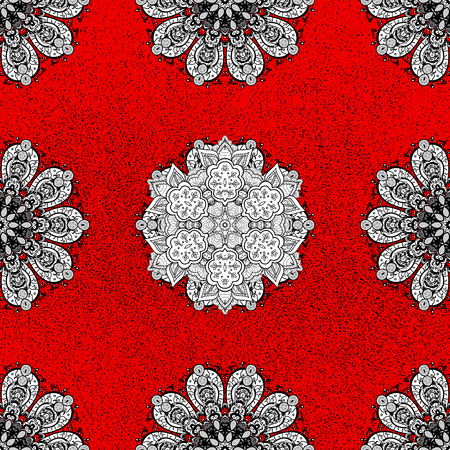 Christmas, snowflake, new year. Ornamental pattern with white elements. Ornamental vintage pattern on red background with whiteen elements. Illustration