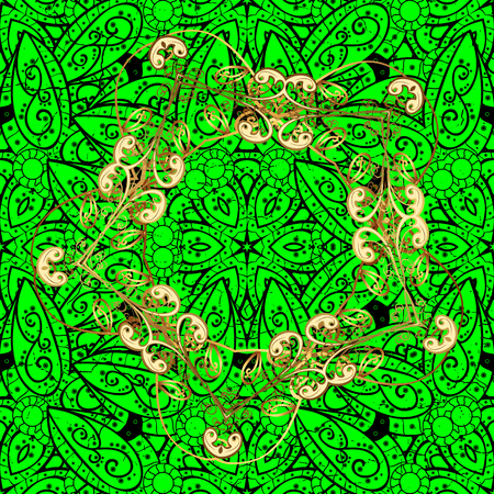 Gold Sketch on texture background.Damask pattern repeating background. Gold green floral ornament in baroque style. Golden element on green background. Illustration